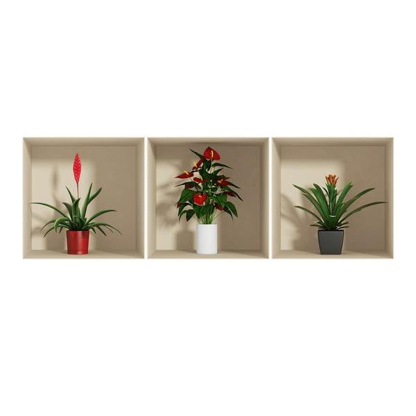 Sada 3 samolepek s 3D efektem Ambiance Flower