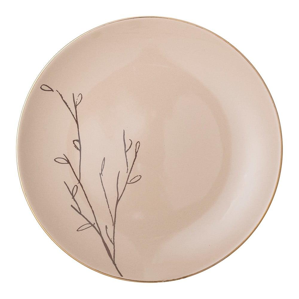 Růžový keramický mělký talíř Bloomingville Rio, ⌀22 cm Bloomingville