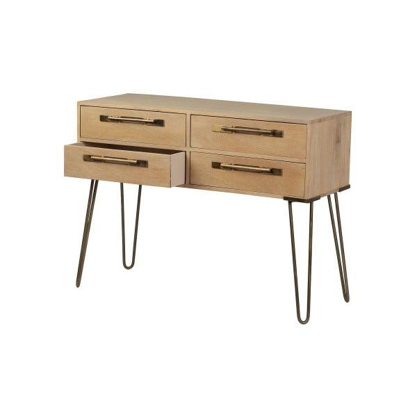 Odkládací stolek z masivního mangového dřeva se čtyřmi šuplíky Woodjam Nevada, šířka 99,5 cm
