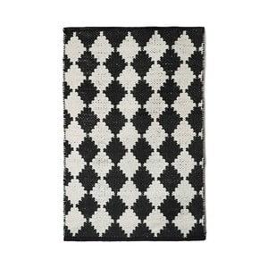 Černobílý bavlněný ručně tkaný koberec Pipsa Diamond, 60x90 cm