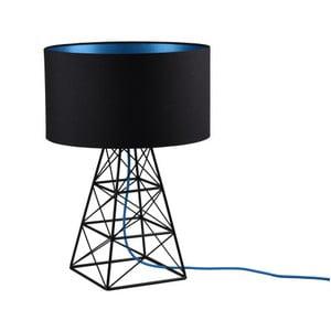 Černá stolní lampa s modrým kabelem Filament Pylon