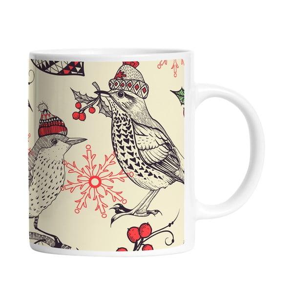 Keramický hrnek Winter Birds, 330 ml