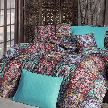 Lenjerie de pat cu cearșaf Ashley, 160 x 220 cm, turcoaz de la Nazenin Home