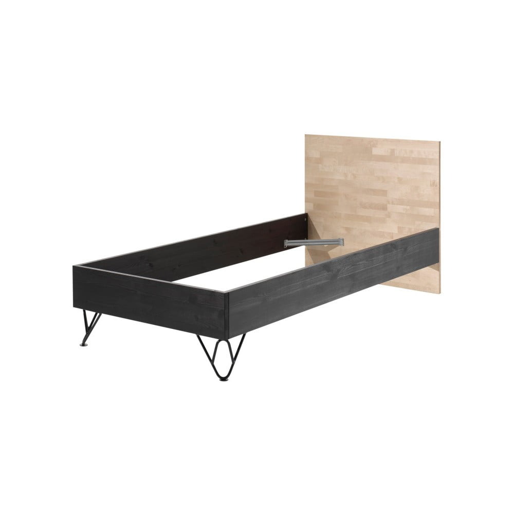 Hnědo-černá postel z masivního borovicového a březového dřeva Vipack William, výška 90 cm
