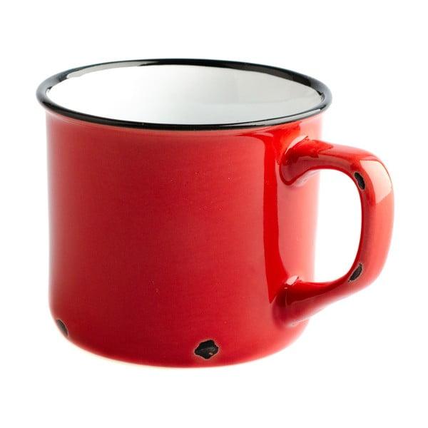 Czerwony ceramiczny kubek Dakls Story Time Over Tea, 230 ml