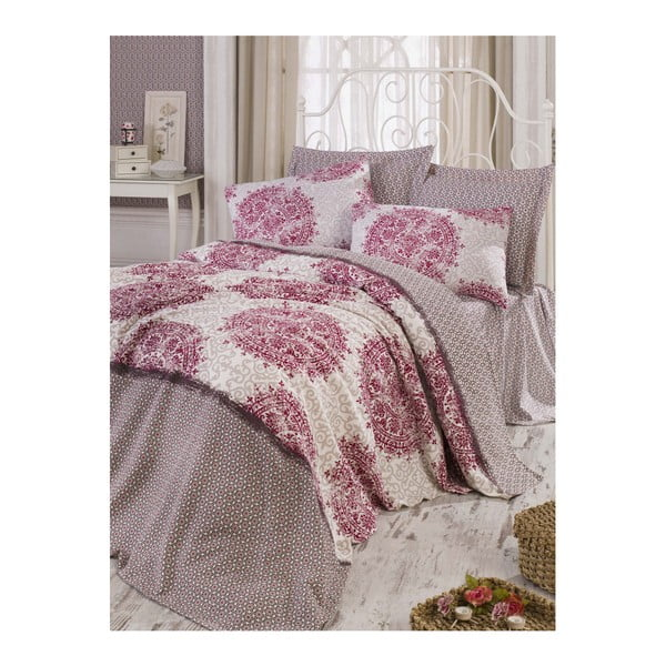 Cuvertură pat din bumbac Roma Fuchsia, 200 x 235 cm