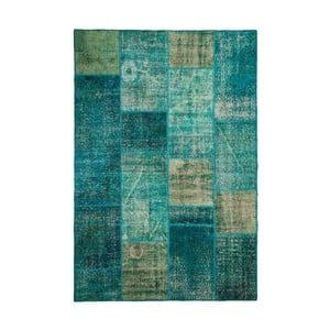 Vlněný koberec Allmode Patchwork Turquoise, 150x80 cm