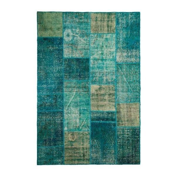 Vlněný koberec Allmode Patchwork Turquoise, 180x120 cm
