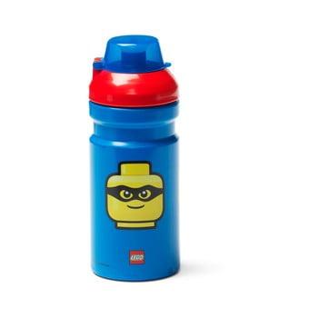 Sticlă pentru apă cu capac roşu LEGO® Iconic, 390 ml, albastru