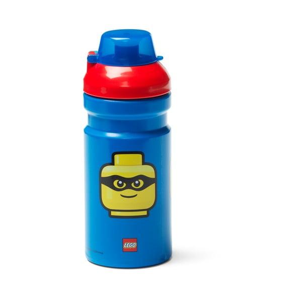 Modrá fľaša na vodu s červeným vekom LEGO® Iconic, 390 ml