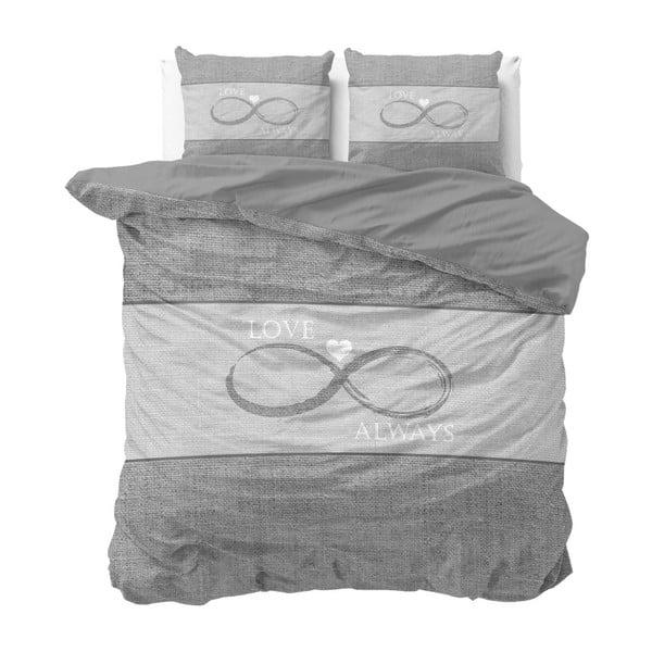Šedé bavlněné povlečení na dvoulůžko Sleeptime Infinity Love, 200 x 220 cm