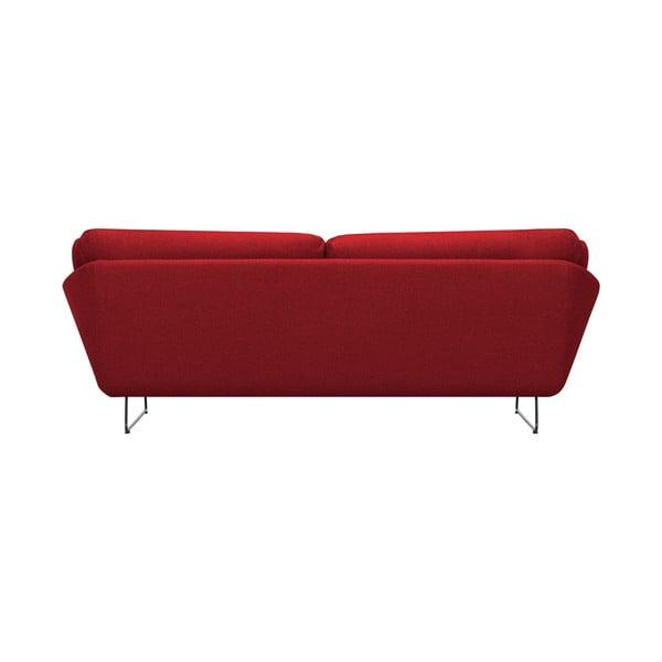 Set červené třímístné pohovky a sedacího pufu Windsor & Co Sofas Comet