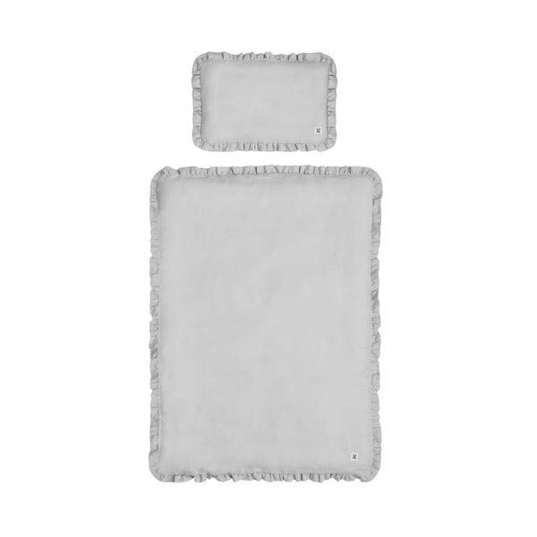 Sivé detské ľanové obliečky s výplňou BELLAMY Stone Gray, 140×200 cm