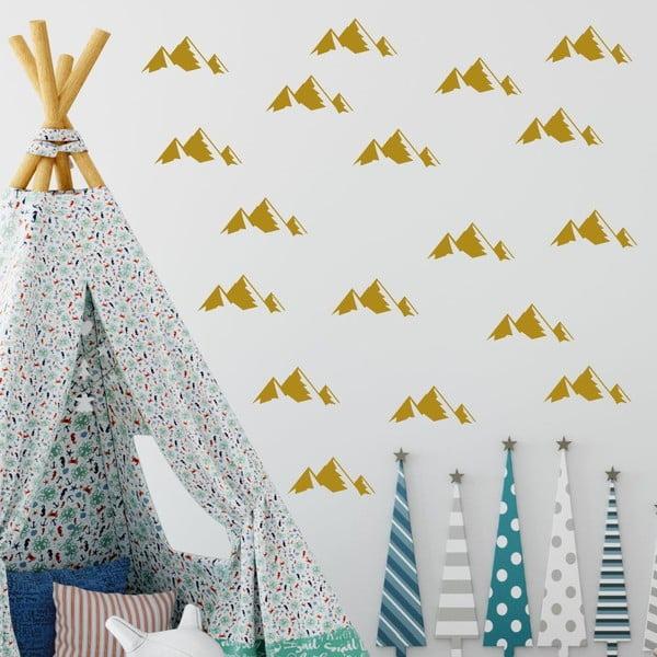 Sada 40 žlutých samolepek na zeď North Carolina Scandinavian Home Decors Mountain