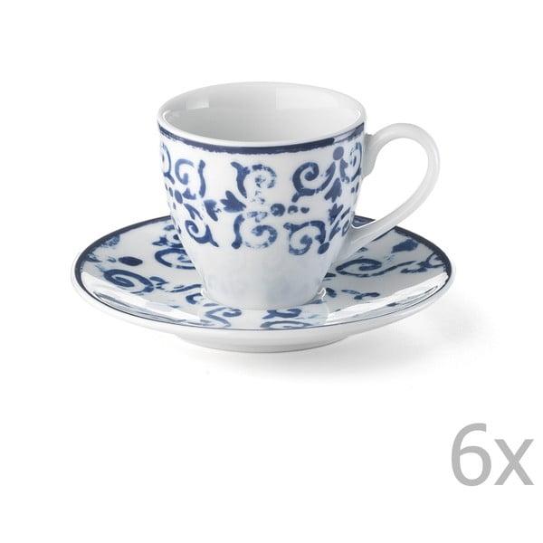 Sada 6 porcelánových šálků Antico Blue, 100 ml