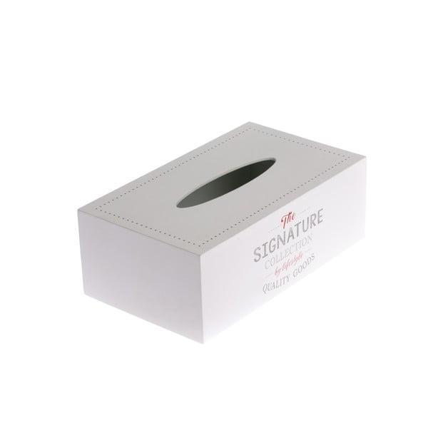 Bílá dřevěná krabička na papírové kapesníky Dakls, 24x14cm