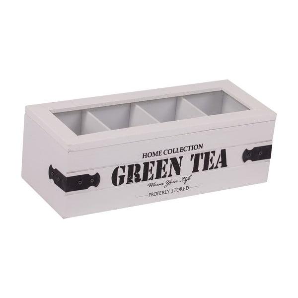 Bílý box se 4 přihrádkami na čaj Green Tea