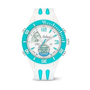 Hodinky Colori Anadigi 48 White Neon Turquoise