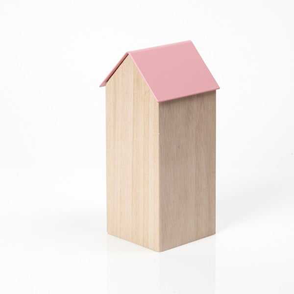 Růžový úložný box House Large