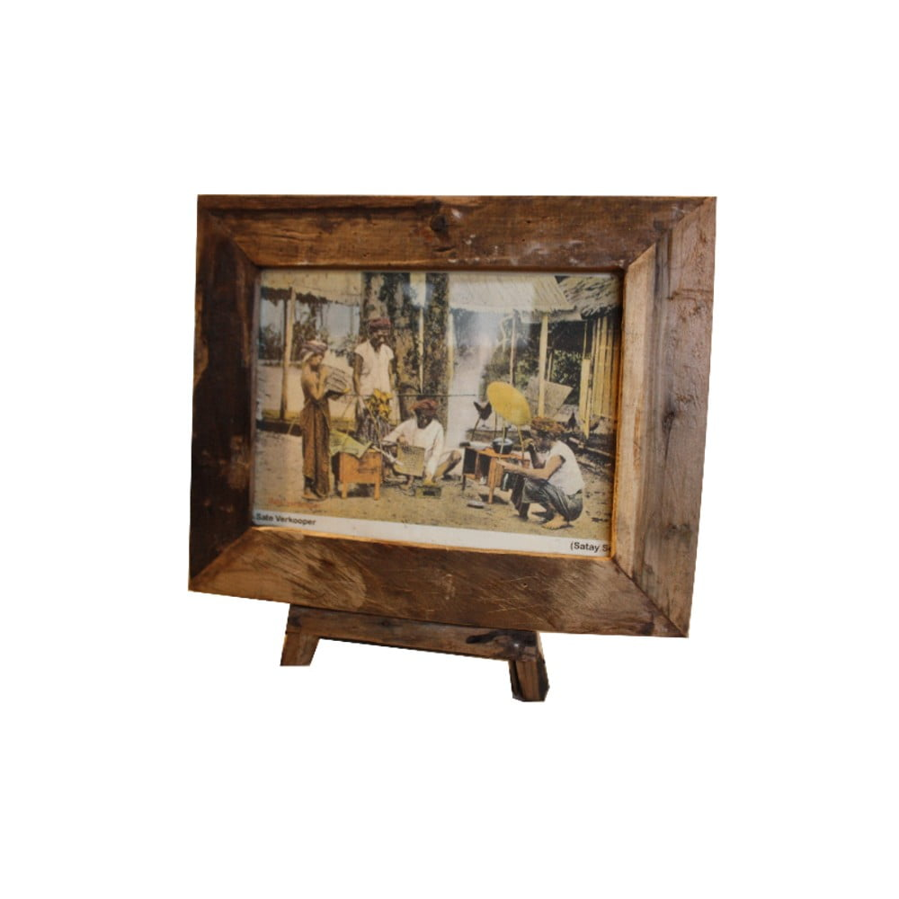 Rámeček na fotografie z teakového dřeva HSM Collection Antique, 43 x 36 cm