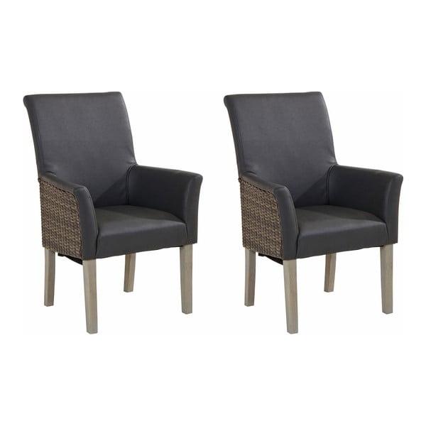 Sada 2 šedých jídelních židlí s područkami Støraa Matrix
