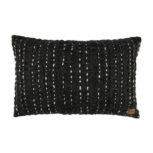Tmavě šedý sametový polštář BePureHome Hug, 60x40cm