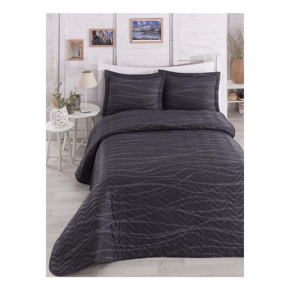 Černý prošívaný lehký přehoz na dvoulůžko s povlaky na polštáře Verda Grey, 200 x 220 cm