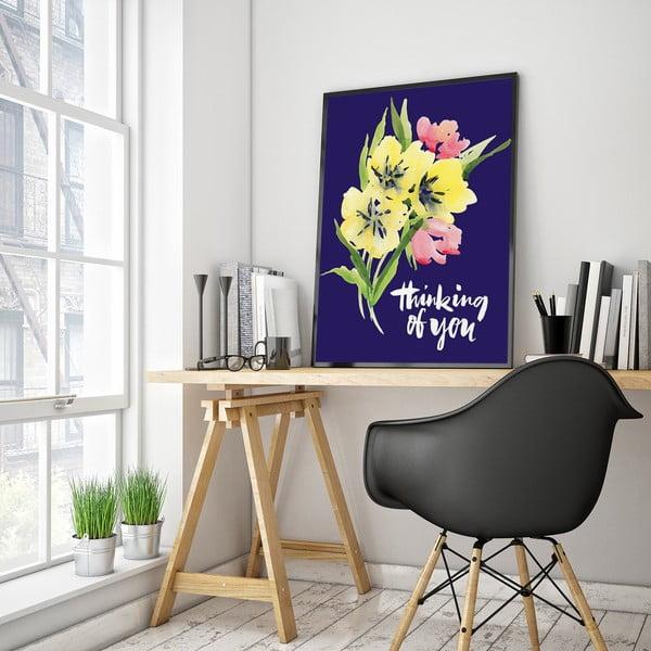 Plakát s květinami Thinking Of You, modré pozadí, 30 x 40 cm