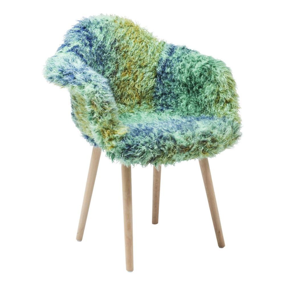 Zeleno-modrá jídelní židle s potahem z umělé kožešiny Kare Design Eyti
