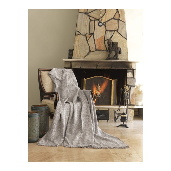 Béžová bavlněná deka Mismo Linen, 170x220cm