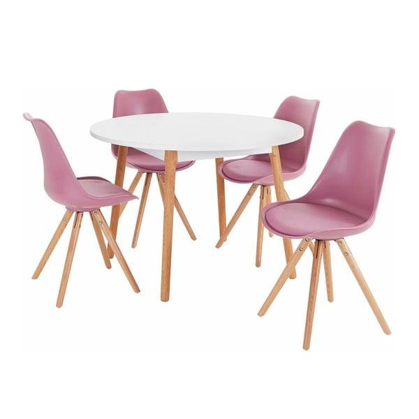 Set jídelního stolu a 4 růžových jídelních židlí Støraa Oregon Brenda
