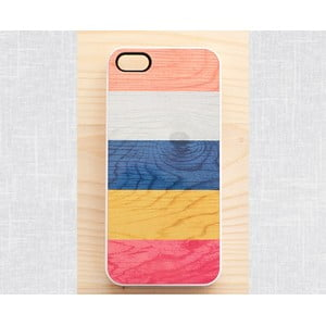 Obal na Samsung Galaxy S3, Colorful stripes on wood print/white
