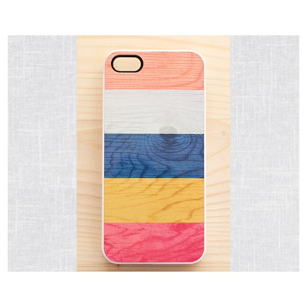 Obal na iPhone 5, Colorful stripes on wood print/white
