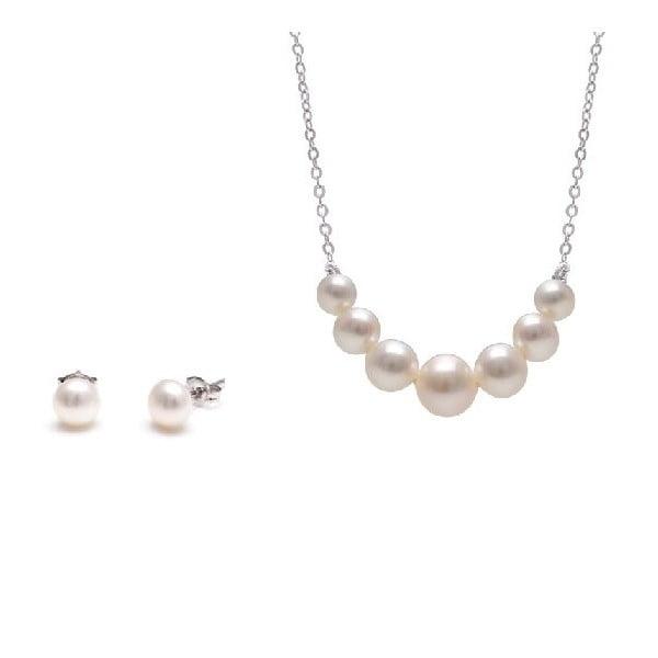 Sada náhrdelníku a náušnic z říčních perel GemSeller Spicata, bílé perly