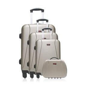Set 3 béžových cestovních kufrů na kolečkách a kufříku Hero Travel
