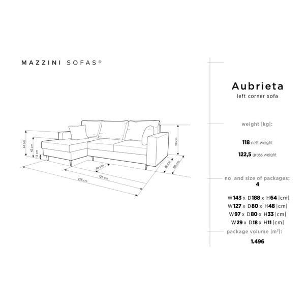 Tmavě šedá čtyřmístná rozkládací pohovka s úložným prostorem Mazzini Sofas Aubrieta, levý roh
