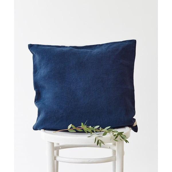 Față de pernă din in Linen Tales, 45 x 45 cm, albastru marin