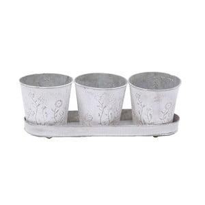 Set 3 kovových nádob s tácem Flower