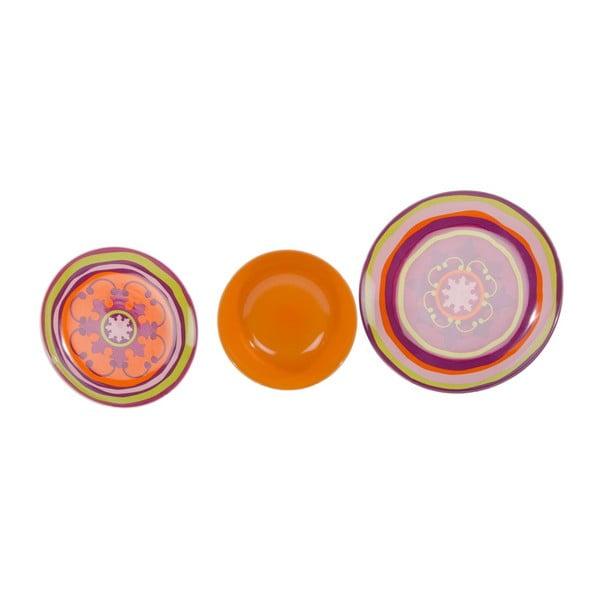 Sada 18 ks keramických talířů Zafaf Orange