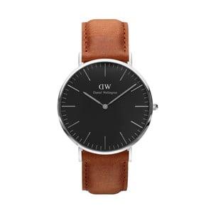Unisex hodinky s hnědým páskem Daniel Wellington Durham Silver, ⌀40mm