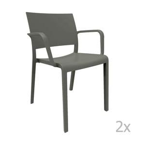 Sada 2 tmavě šedých zahradních židlí s područkami Resol Fiona
