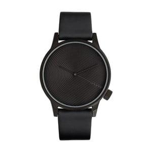 Pánské černé hodinky s koženým řemínkem Komono Deco