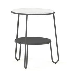 Šedý odkládací stolek HARTÔ Anatole, ⌀ 40cm