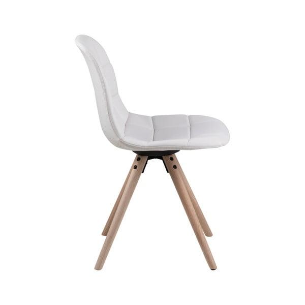 Bílá jídelní židle s podnožím z dubového dřeva Actona Lotta