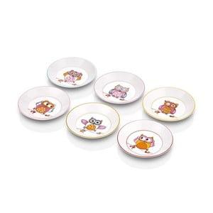 Sada 6 servírovacích talířků z kostního porcelánu The Mia Owl Tea