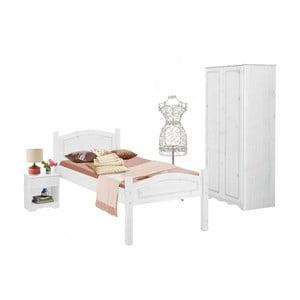 Bílý 3dílný jednolůžkový ložnicový set z borovicového dřeva Støraa Bangor