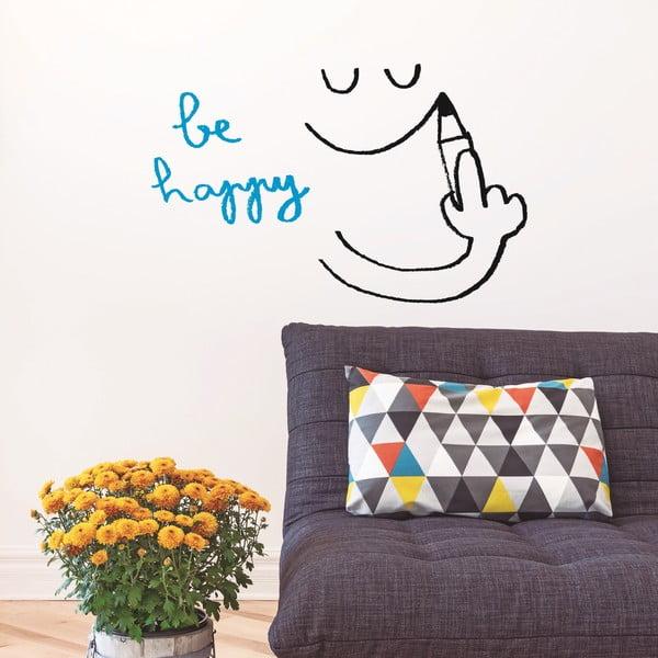 Samolepka Be Happy, 28x31 cm