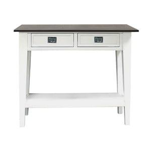 Bílý konzolový stolek se 2 zásuvkami Canett Skagen Console