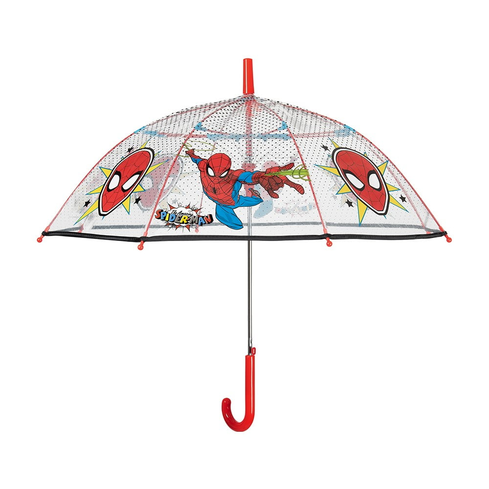 Transparentní dětský deštník odolný vůči větru Ambiance Spiderman Marvel, ⌀74cm