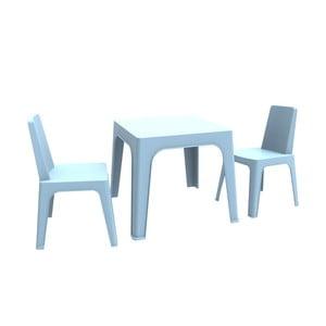 Modrý dětský zahradní set 1 stolu a 2 židliček Resol Julieta